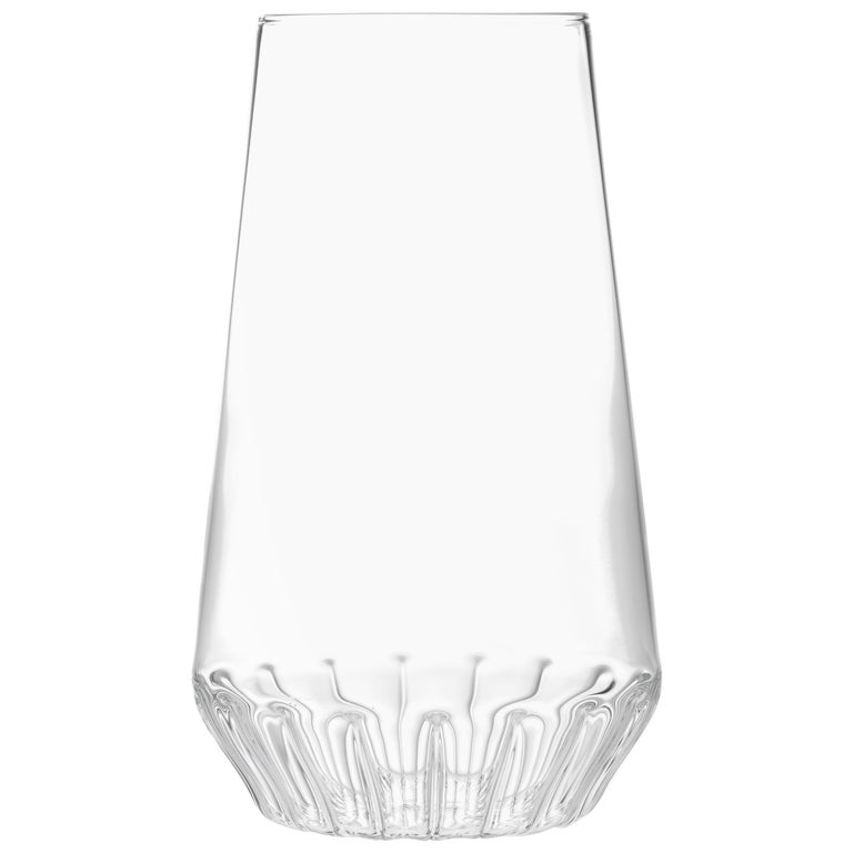 Contemporary Czech Glass Clear Modern Large Vase Handcrafted, in Stock For Sale