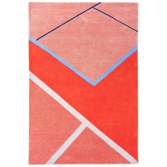 """Court Series"" Field House Rug by Pieces, Modern Hand-Tufted Colorful Red Carpet"