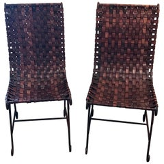 Pair of French Leather and Iron Chairs