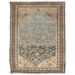 Antique Persian Hamadan Rug with All-Over Design in Earth Tones, Blue & Silver