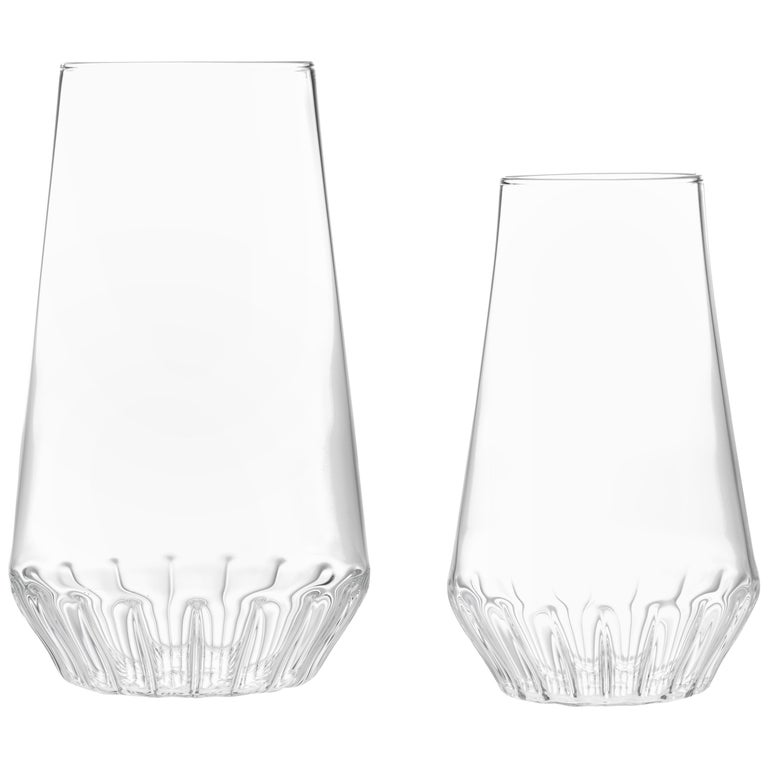 Pair of Contemporary Handcrafted Czech Glass Clear Modern Vases, in Stock