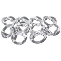 Ten Dorothy Thorpe Lucite Napkin Rings in Pretzel Shape