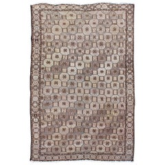 Earth Tone Vintage Persian Karadjeh Rug with All-Over Geometric Design