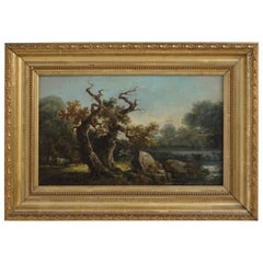 English Landscape Painting with Cows Grazing by Stream, 19th Century