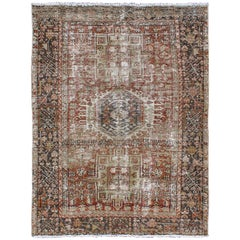 Distressed Persian Karadjeh Rug with Medallion Geometric Tribal Design