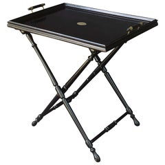 French Black Lacquer Butler's Tray Table on Stand