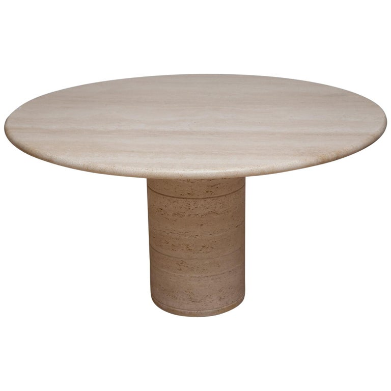1970s Italian Travertine Center or Dining Table in the Style of Mario Bellini