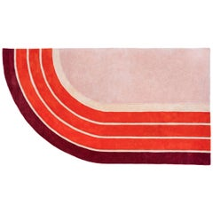 "Track Rug ""Court Series"" by Pieces, Modern Hand Tufted Colorful Sporty Rug"