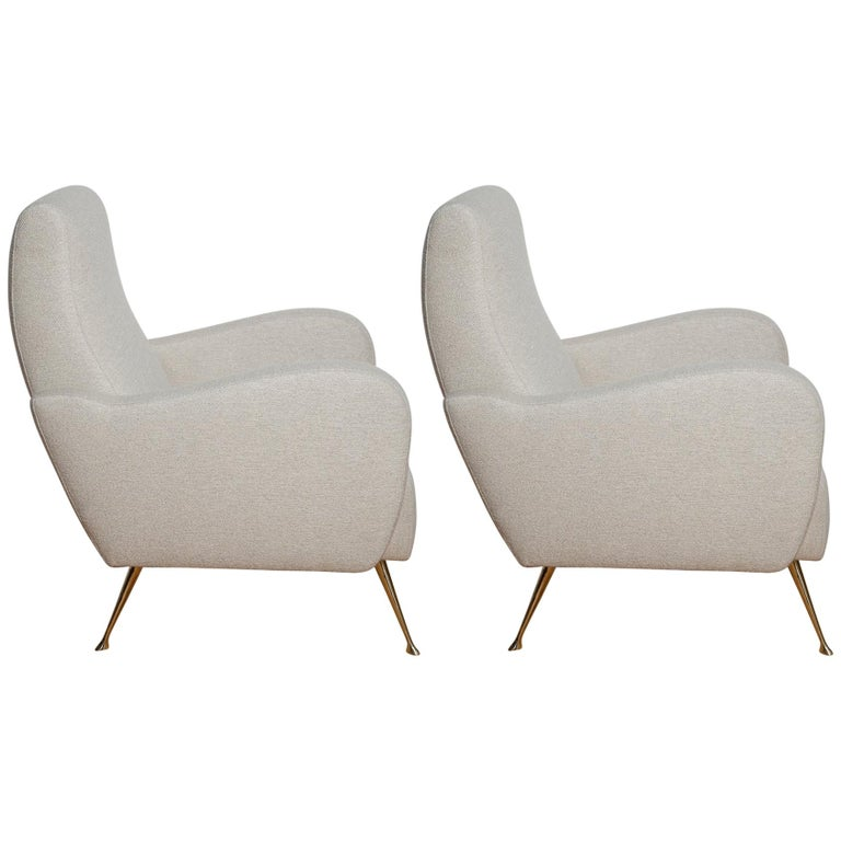 Pair of Fully Restored 1950s Italian Lounge Chairs in Luxe Metal Infused Fabric For Sale