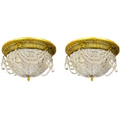 Neoclassical Style Beaded Crystal Dome Flush Mounts, Pair