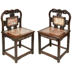 Pair of 19th Century Chinese Hardwood Side Chairs