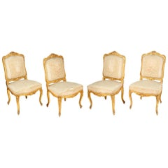 Set of Four 19th Century Gilded Salon Side Chairs