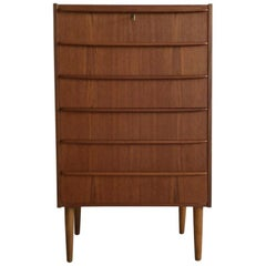 Danish Teak Midcentury Tallboy Chest of Drawers with Key