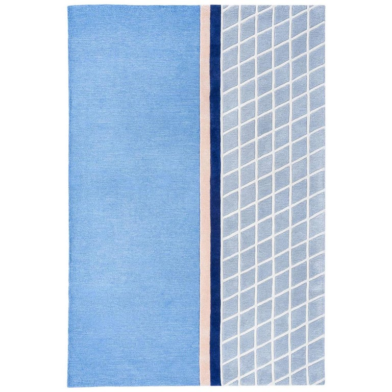"""""""Court Series"""" Net Rug by Pieces, Modern Hand Tufted Grid Pattern Sporty Carpet"""
