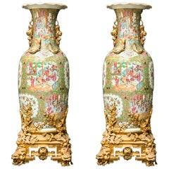 Pair of Palatial Gilt Bronze Mounted Chinese Export Famille Rose Porcelain Vases