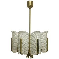 Eight Accanthus Leaves Chandelier, C. Fagerlund for Orrefors, Sweden