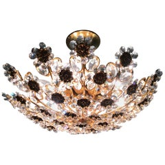 Fine Flower Chandelier by Palwa, Gilt Brass and Crystal, Germany, circa 1960s