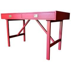 Vintage Red Campaign Desk, circa 1970