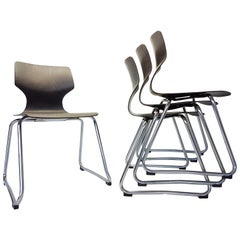 Vintage Chrome Dinning Chairs by Adam Stegner for Flötotto, 1960s, Set of Four