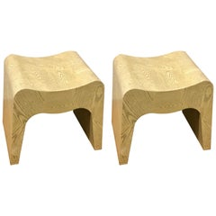 Pair of Modern Limed Oak Parquetry Benches