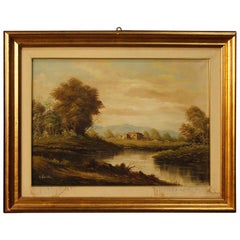 Italian Signed Landscape Painting Mixed-Media on Canvas from 20th Century
