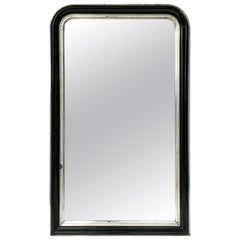 Napoleon III Period Black and Silver Mirror from France (H 53 1/2 x W 32 1/4)