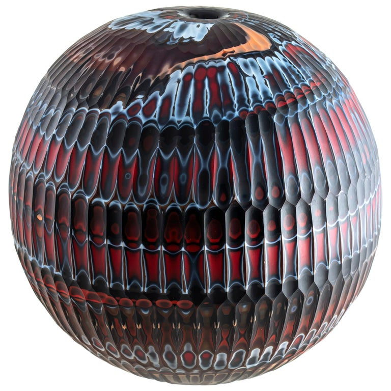 Hand-Carved Glass Vase, Mokume Battuto Red Sphere