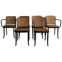 Set of Six 1960s Josef Hoffmann N.811 Prague Dining Chairs by Thonet with Cane