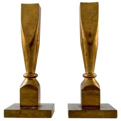 Gusum Metal, a Pair of Candlesticks in Brass, Swedish Design, Mid-20 Century