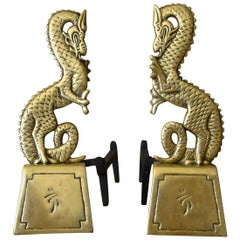 Pair of Asian Inspired Dragon Mid-Century Modern Brass Andirons