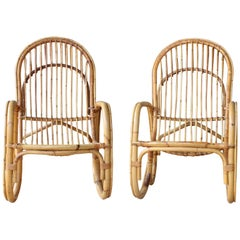 Pair of Bamboo Armchairs in the Style of Franco Albini, 1960s, Italy