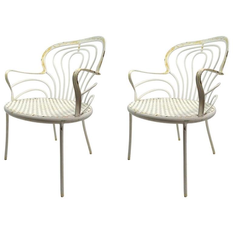 Rare Pair Leinfelder Wrought Iron Garden Patio Chairs For