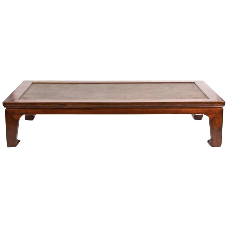 Asian Style Coffee Table With Inset Woven Cane Top For