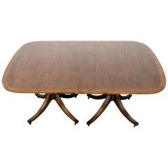 Mahogany Double Pedestal Banded Dining Table by Baker