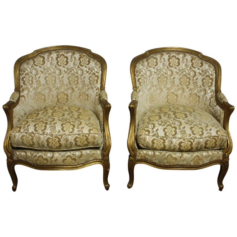 Late 19th Century Pair of French Bergere Chairs