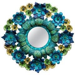 Artes de Mexico Tole Flower Mirror Saldana Maximalist Colors Sculpture Art