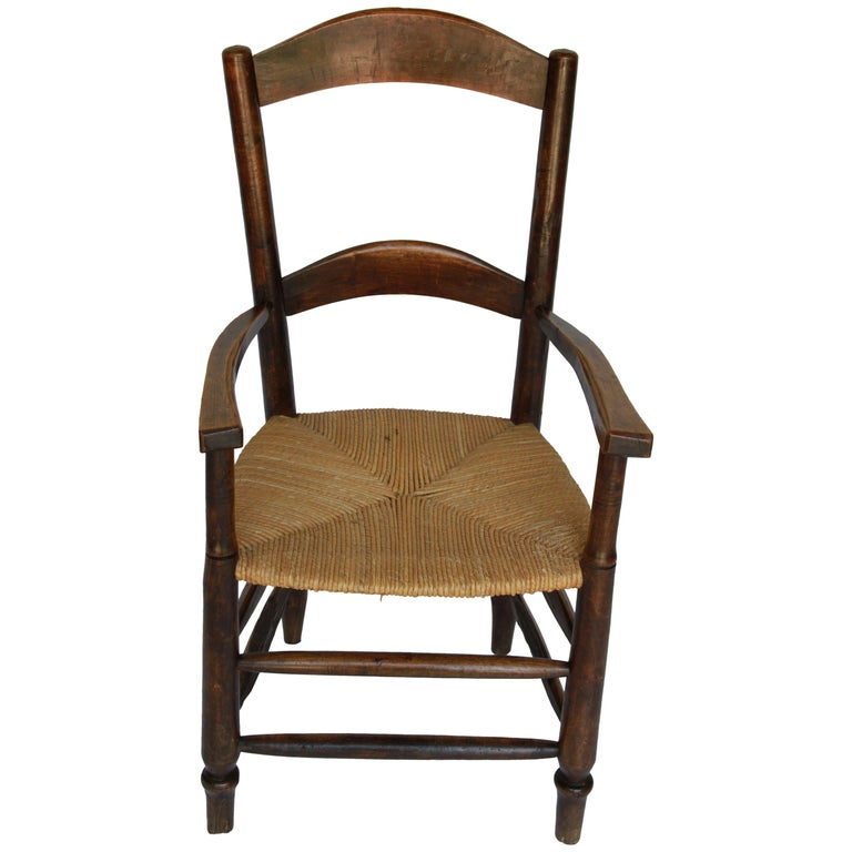 19th Century French Wood Rush Seat Chair