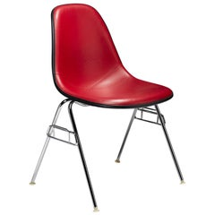 Eames Red Padded Vinyl Molded Fiberglass Shell Chairs by Herman Miller, 1980s