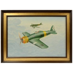 Oil on Canvas Depicting Macchi Aircraft