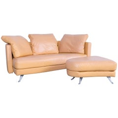 Rolf Benz Designer Leather Sofa Set Beige Two-Seat Couch and Bench