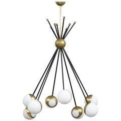 Stilnovo Style Brass Sputnik Chandelier