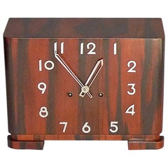 Great Art Deco Bauhaus Wood Chrome Mantle Desk Clock 1930 Kienzle Junghans