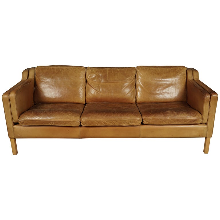 Midcentury Sofa from Denmark in Cognac Leather, circa 1970