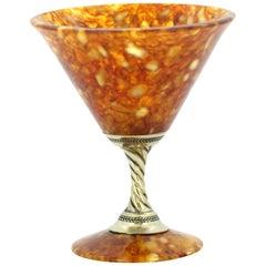 Vintage Russian Silver and Amber Small Goblet, circa 1990s