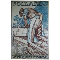 Sir Frank Brangwyn Designed for Pollards Store Fitters an Original Framed Poster