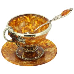 Vintage Russian Silver and Amber Tea Cup Set, Russia, circa 1990s