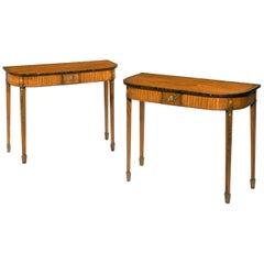 Pair of George III Period Satinwood Pier Tables of Slender Form