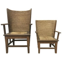 Near Matching Pair of Arts & Crafts Small and Large Children's Orkney Chairs