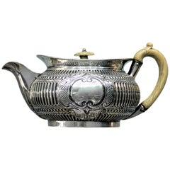 Richard Sawyer 19th Century Silver and Ivory Irish Regency Teapot, 1808
