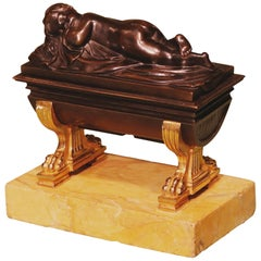 19th Century Bronze and Ormolu Sarcophagus Encrier